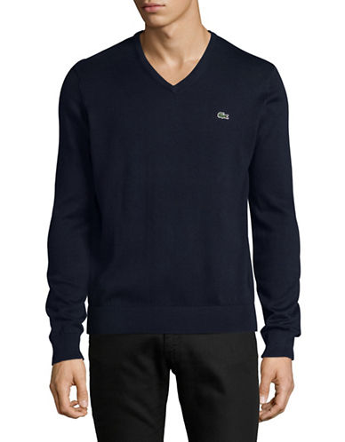 Lacoste Cotton V-Neck Sweater-NAVY-Medium