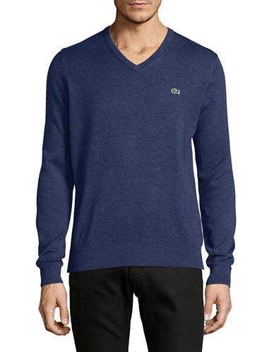 Lacoste Cotton V-Neck Sweater-DARK BLUE-Large
