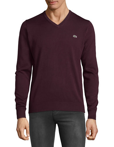 Lacoste Cotton V-Neck Sweater-BROWN-X-Large