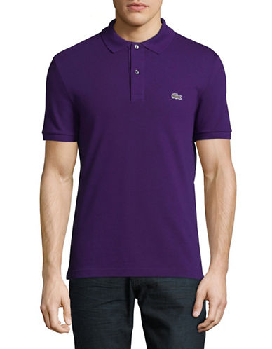 Lacoste Short Sleeve Ribbed Collar Polo Shirt-PURPLE-Medium