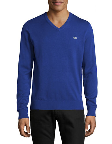 Lacoste Cotton V-Neck Sweater-BLUE-Small