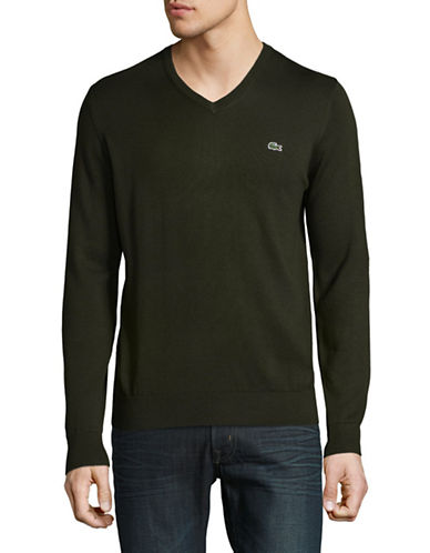 Lacoste Cotton V-Neck Sweater-GREEN-Large