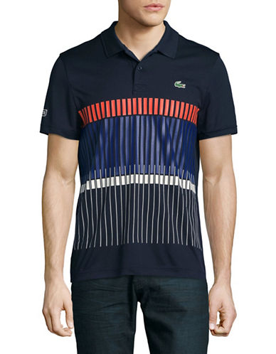 Lacoste Striped Print Dry Pique Polo Shirt-NAVY-Small