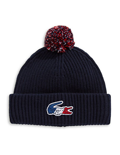 Lacoste Signature Pom-Pom Wool Tuque-NAVY-Medium