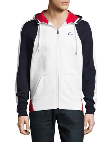 Lacoste Olympic Attached Hood Sweatshirt-WHITE/NAVY-Small