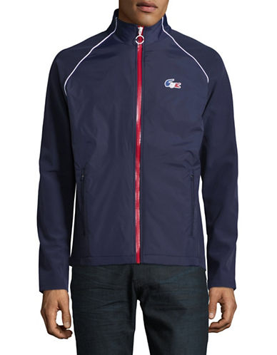 Lacoste Olympic Attached Hood Sweatshirt-NAVY BLUE-Medium