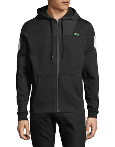 Lacoste Two-Toned Logo Hoodie-BLACK-X-Large