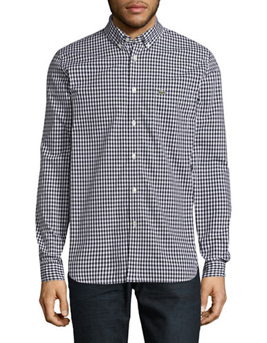 Lacoste Gingham Sport Shirt-NAVY BLUE-EU 42/US 16.5