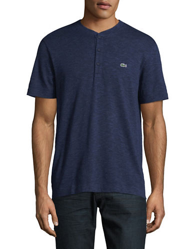 Lacoste Slub Jersey Henley T-Shirt-NAVY-Medium