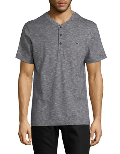 Lacoste Slub Jersey Henley T-Shirt-BLUE-Small