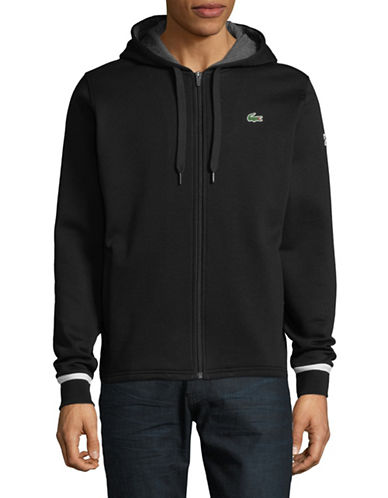 Lacoste Cotton-Blend Zip-Up Hoodie-BLACK-Medium 89914864_BLACK_Medium