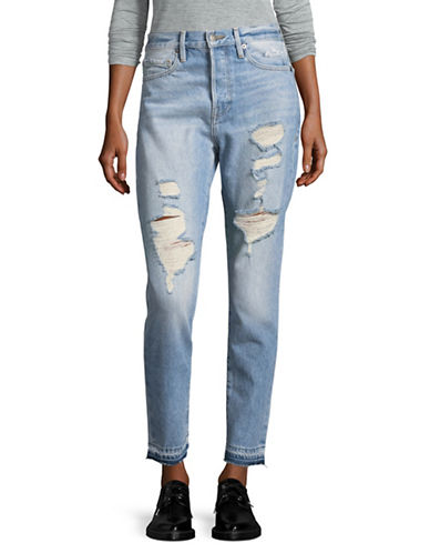 Frame Denim Ripped Skinny Jeans-BLUE-28