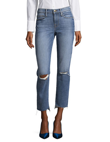 Frame Denim Cropped Distressed Denim Jeans-BLUE-28