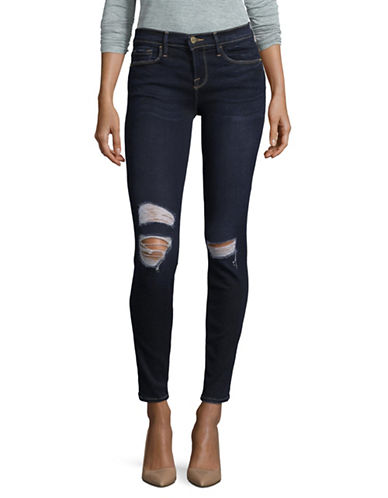 Frame Denim Ripped Skinny High-Waist Denim Jeans-BLUE-30