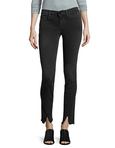 Frame Denim Raw Split Skinny Jeans-BLACK-28