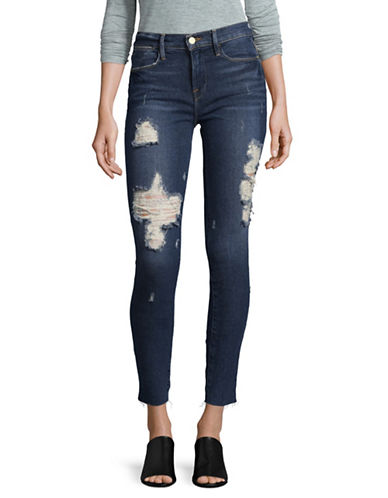 Frame Denim Le High Rise Distressed Skinny Jeans-ENFORD-29