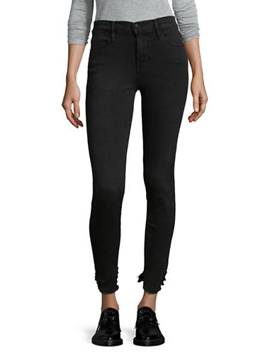 Frame Denim Raw-Hem Skinny Jeans-BLACK-30