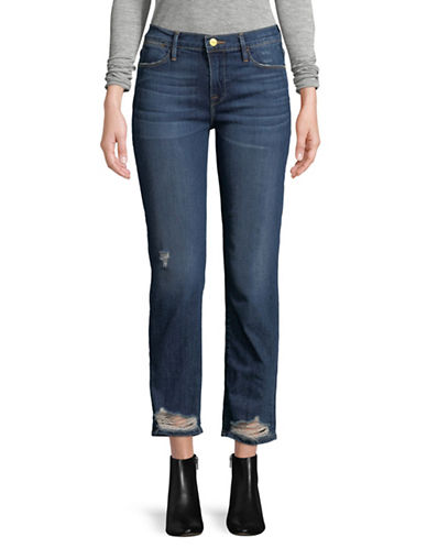 Frame Denim Distressed Straight Fit Cropped Jeans-BLUE-32