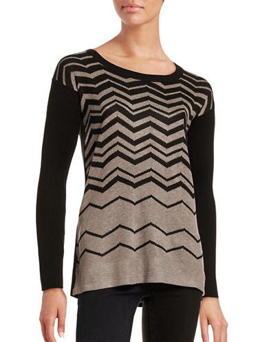 Ivanka Trump Chevron Knit Pullover-BLACK-Large 88726356_BLACK_Large