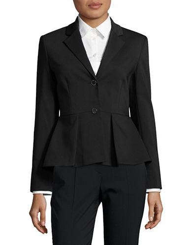 Ivanka Trump Two-Button Peplum Blazer-BLACK-10