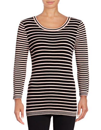 Karl Lagerfeld Striped Crew Neck Top-PINK-X-Small 88877905_PINK_X-Small