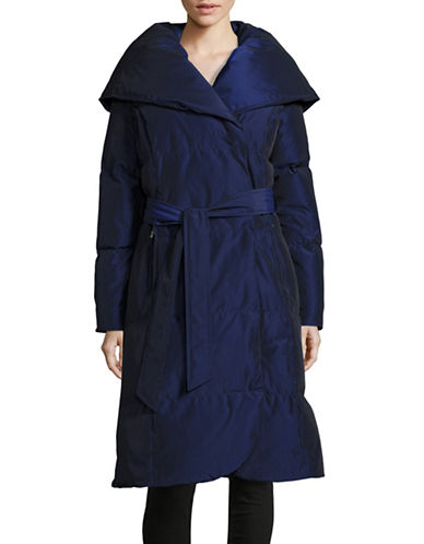 Ivanka Trump Belted Pillow Collar Down Coat-BLUE-X-Small 88528925_BLUE_X-Small