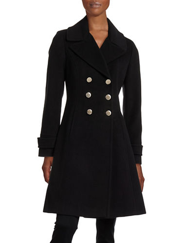 Ivanka Trump Wool-Blend Fit-and-Flare Walker Coat-BLACK-8