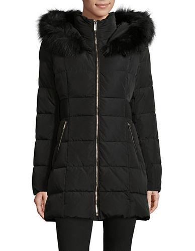 Ivanka Trump Quilted Walker Coat with Oversized Faux Fur Hood-BLACK-X-Small