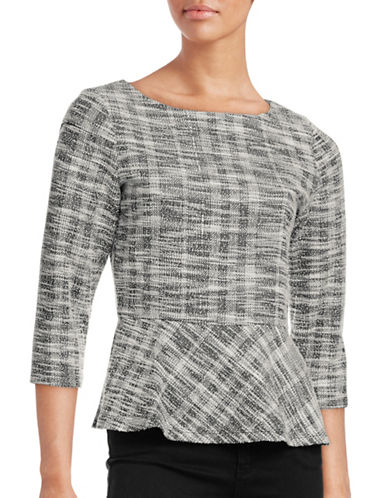 Ivanka Trump Plaid Peplum Top-BLACK-X-Small 88726480_BLACK_X-Small