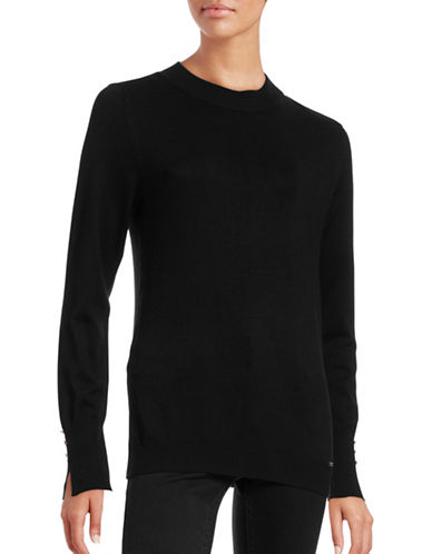 Ivanka Trump Mock Neck Pullover-BLACK-Large 88726366_BLACK_Large