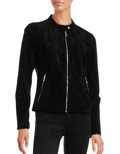 Ivanka Trump Faux Suede Jacket-BLACK-X-Small