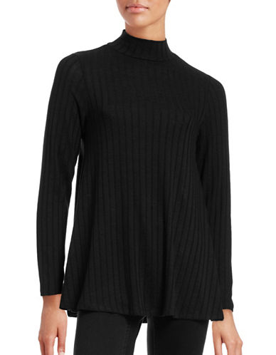 Ivanka Trump Marled Rib Trapeze Mock Neck Sweater-BLACK-Large 88726488_BLACK_Large