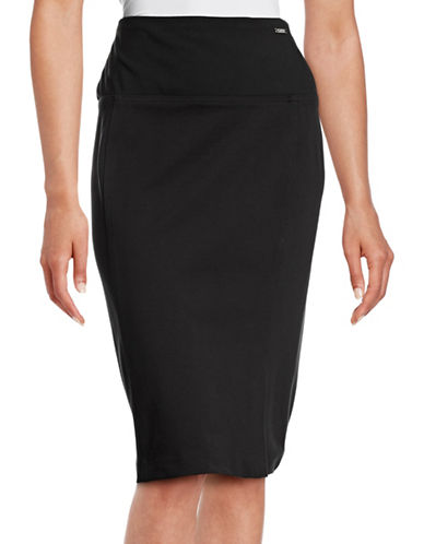 Ivanka Trump Compression Ponte Skirt-BLACK-Large