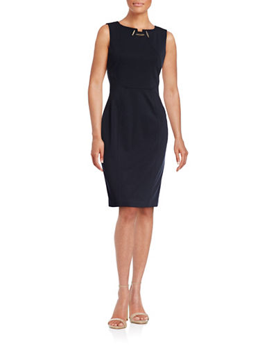 Ivanka Trump Necklace Trim Sheath Dress-NAVY-12