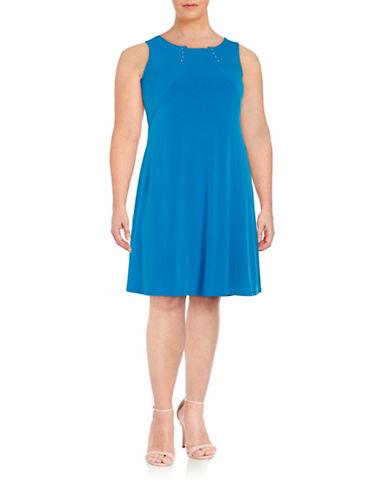 Ivanka Trump Studded Shift Dress-BLUE-16W