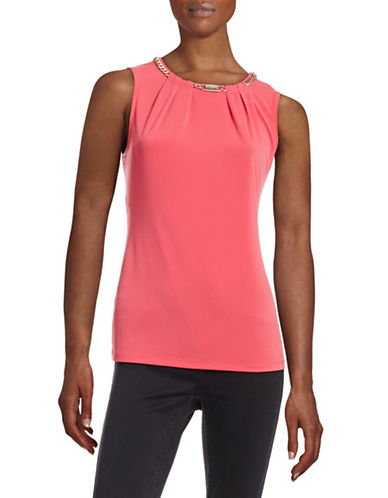 Karl Lagerfeld Sleeveless Chain Tunnel Top-PINK-X-Small 88421177_PINK_X-Small