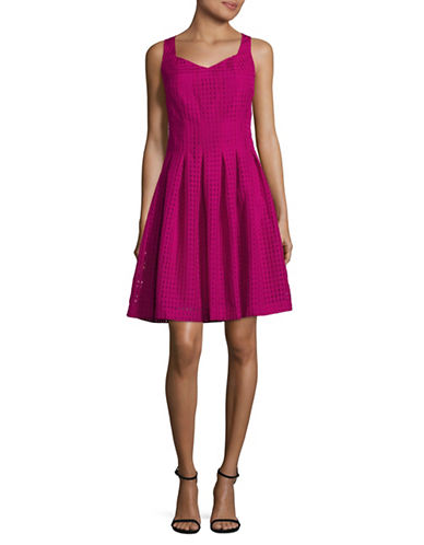 Ivanka Trump Illusion Square Fit-and-Flare Dress-DAHLIA-4