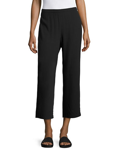 Eileen Fisher Silk Cropped Trousers-BLACK-Medium