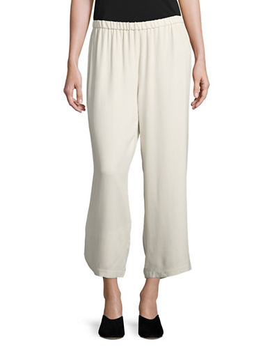 Eileen Fisher Silk Cropped Trousers-BONE-Small