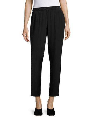 Eileen Fisher Slouchy Silk Pants-BLACK-X-Small