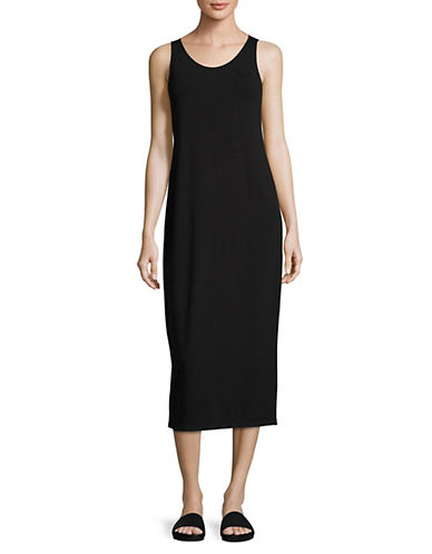 Eileen Fisher Scoop Neck Tank Dress-BLACK-Medium
