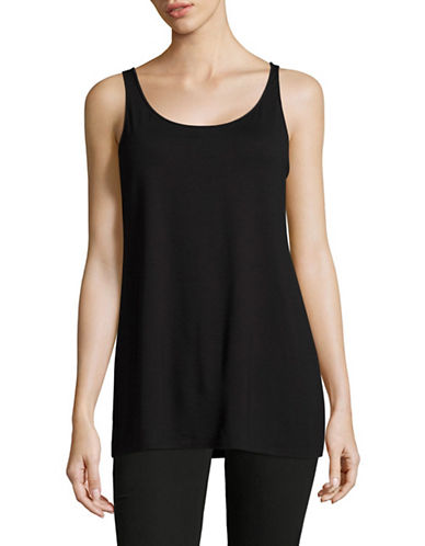 Eileen Fisher Scoop Neck Long Tank-BLACK-X-Large 89044176_BLACK_X-Large