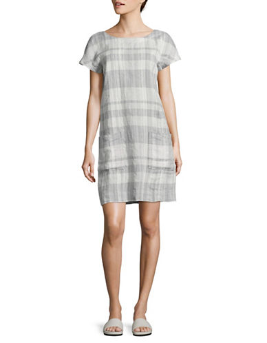 Eileen Fisher Organic Linen and Cotton Plaid Tunic Dress-BLUE MULTI-Large