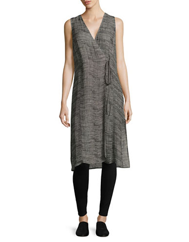 Eileen Fisher Sleeveless Linen Blend Vest-BLACK-Small