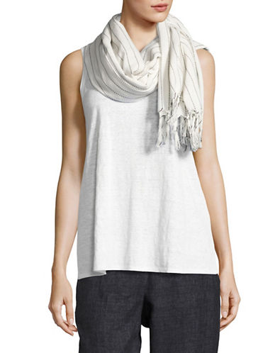 Eileen Fisher Organic Cotton Wide Stitch Stripe Scarf-NATURAL-One Size