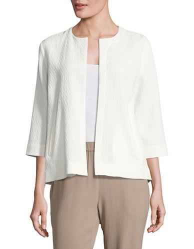 Eileen Fisher Doubleweave Crinkle Cotton-Blend Jacket-WHITE-Medium 89043905_WHITE_Medium