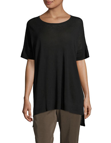Eileen Fisher Silk Linen Blend Tunic-BLACK-Large