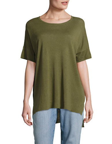 Eileen Fisher Silk Linen Blend Tunic-OLIVE-Large