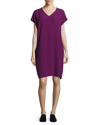 Eileen Fisher V-Neck Boxy Shift Dress-PURPLE-Small