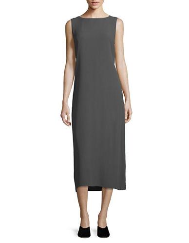 Eileen Fisher Silk Georgette Crepe Dress-GRAPHITE-X-Small 89043682_GRAPHITE_X-Small